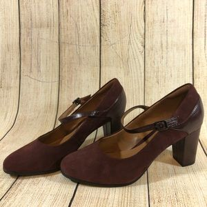 Clarks Collection Burgundy Bavette Cathy Heels 10W